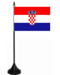 Croatia Desk / Table Flag with plastic stand and base.